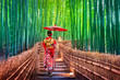 canvas print picture - Bamboo Forest. Asian woman wearing japanese traditional kimono at Bamboo Forest in Kyoto, Japan.