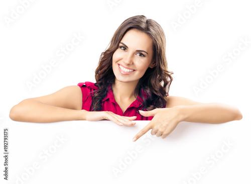 Fototapeta Young woman showing blank signboard obraz