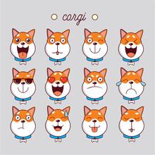 Dog Corgi Cute Emoji, Smiley I...
