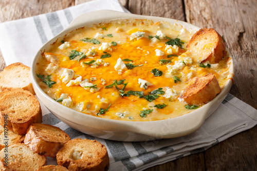 American food: hot chicken buffalo dip close-up in a baking dish with toasted bread. horizontal