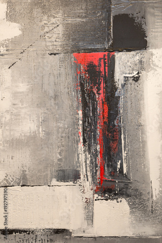 Fototapety, obrazy: Abstract Pattern from ArtWork in Red and Gray