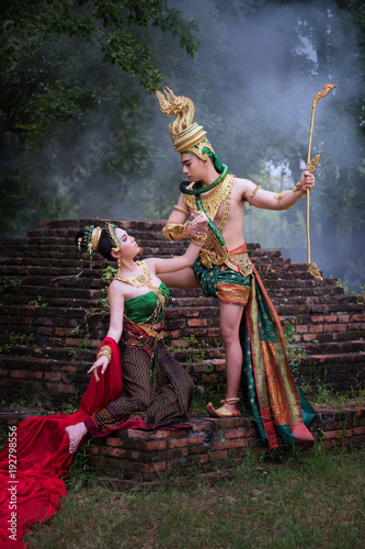 Man and woman wearing typical thai dress with thai style, Beauty fantasy Thai dr Wallpaper Mural