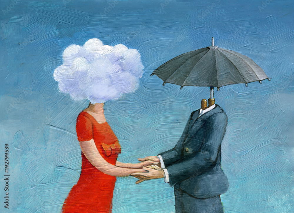 made for each other surrealism illustration love - obrazy, fototapety, plakaty