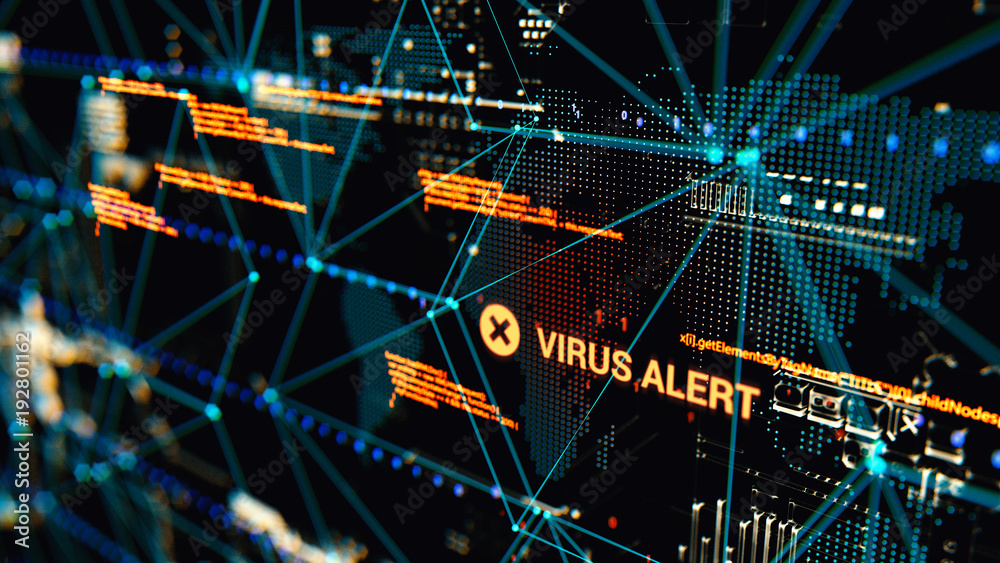 Fototapeta 3D rendering. Abstract background concept of cyber security and attack, system crash.