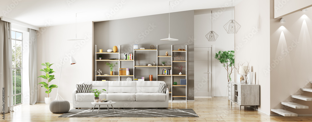 Fototapety, obrazy: Interior of modern living room panorama 3d rendering