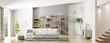 Leinwanddruck Bild - Interior of modern living room panorama 3d rendering