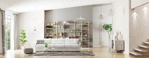 Interior of modern living room panorama 3d rendering
