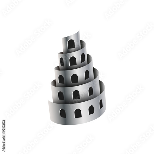 Photo Metal shavings look like a tower with windows.