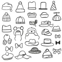 Vector Set Of Illustrations Of Different Black And White Hats (children's, Winter, Summer, Christmas, Festive), Bows, Mittens And Another Sketch Hand Drawn Accessories Drawn With Pen And Brush