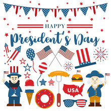 Flat Design, Cartoon Illustration Of Abraham Lincoln And George Washington And Icons, President's Day