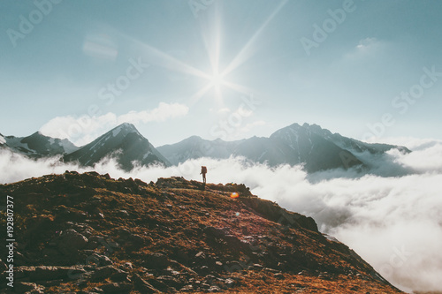 Staande foto Bleke violet Mountains landscape Travel lifestyle adventure concept traveler standing alone summer vacations outdoor sunny day