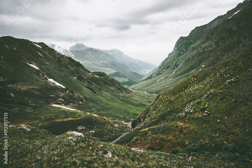 Poster Khaki Green mountains valley Landscape Travel aerial view summer serene scenery