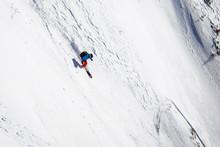 Female Freerider Skiing Down S...