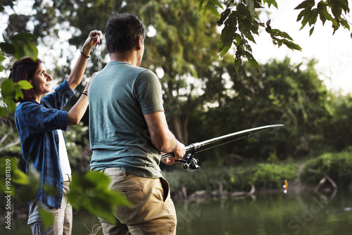 Poster Peche Couple fishing in the jungle