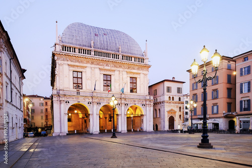 Brescia italian city near Garda lake main square called piazza loggia Slika na platnu