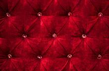 Red Diamond Pattern Velvet Uph...
