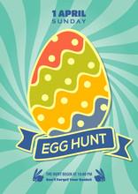 Easter Egg Hunt Poster, Invitation, Leaflet Template Design. Vector Illustration.