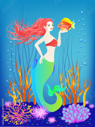 Wall Murals Mermaid Underwater world, little mermaid, fishes, seashells plants and a pearl