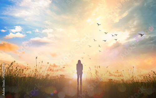 Fototapety, obrazy: World mental health day concept: Silhouette alone woman standing on abstract of heaven background