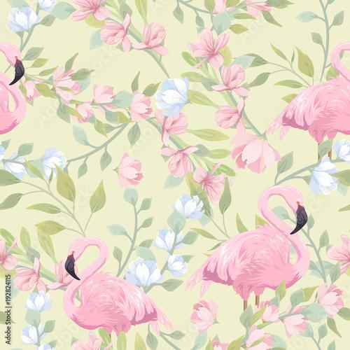 bezszwowy-delikatny-wzor-z-rozowymi-kwiatami-i-flamingiem