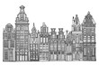 Fictional Dutch houses skyline. Abstract doodle background. Hand drawn.