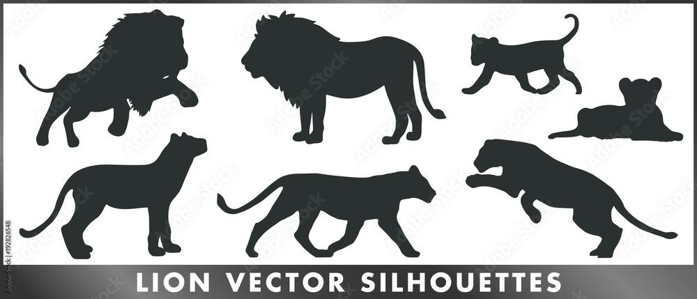 Fototapeta Lion vector silhouettes
