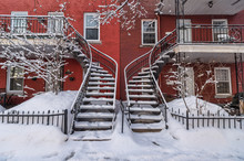 Staircases Covered In Snow In ...