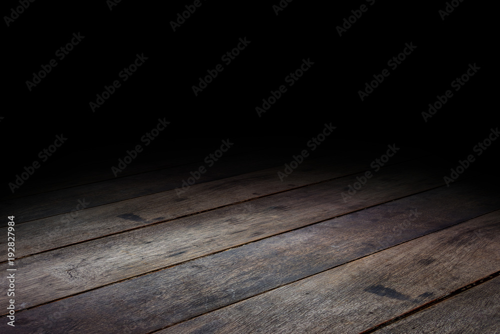 Fototapeta floor wood Dark Plank wood floor texture perspective background for display or montage of product,Mock up template for your design