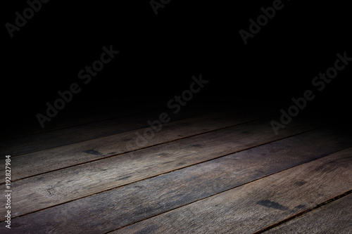 Fotografie, Obraz  Dark Plank wood floor texture perspective background for display or montage of p