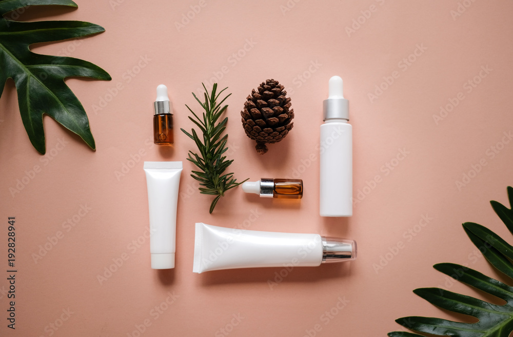 Fototapety, obrazy: natural cosmetic cream , serum, skincare blank bottle packaging with leaves herb, wood . bio organic product.beauty and spa concept.