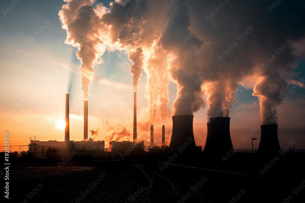 Fototapeta coal fired power station silhouette at sunset, Pocerady, Czech republic