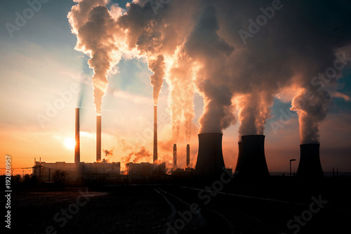 coal fired power station silhouette at sunset, Pocerady, Czech republic Wallpaper Mural