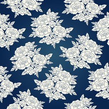 Peony Japanese Pattern Seamless Vector. Oriental Floral Background. Blue Vintage Flowers Print For Kimono Fabric, Fashion Woman Clothing, Silk Scarf Or Dress Textile, Interior Home Wallpaper.