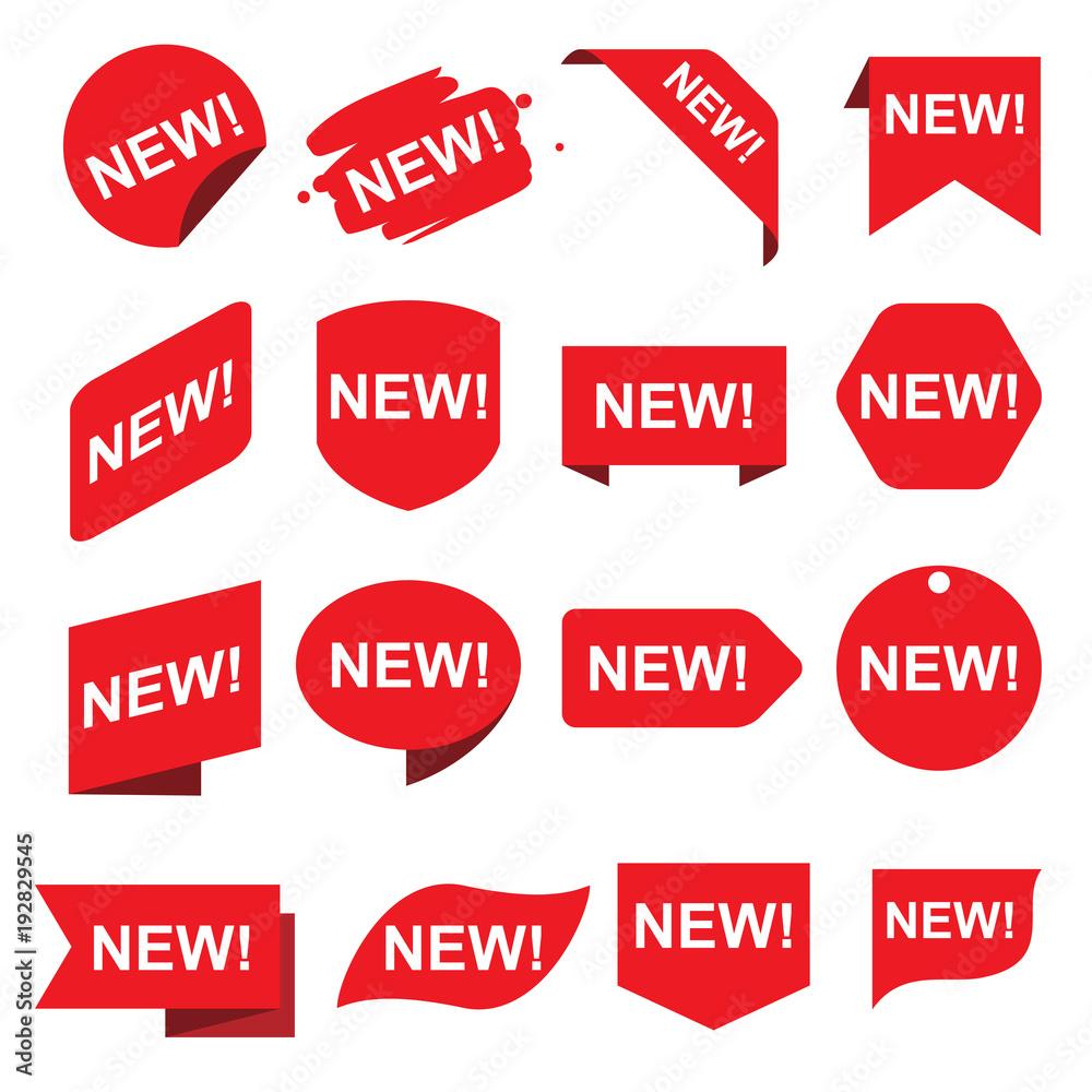 Fototapety, obrazy: Red new stickers set