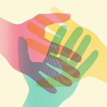 Overlapping Colorful Hands Concept Poster. Vector Illustration.