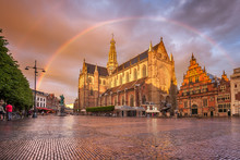 Breathtaking  Sunset With Rainbow Over Grote Kerk In Haarlem City