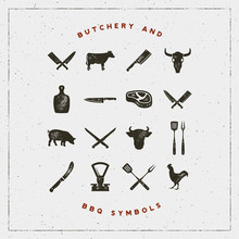 Set Of Butchery And Barbecue S...
