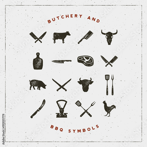 Fotomural set of butchery and barbecue symbols with letterpress effect