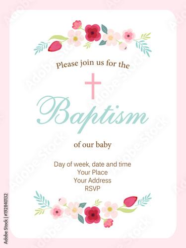 Fotografía Cute vintage Baptism invitation card with hand drawn flowers