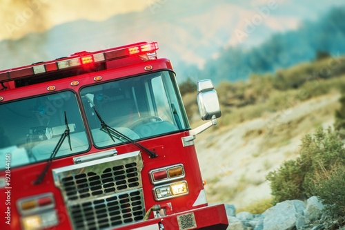 Fire Truck Rescue Operation Wallpaper Mural