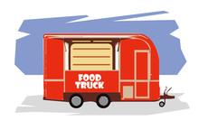 Illustration Of Food Truck Rastr