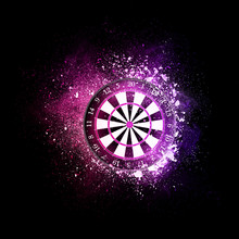 Darts Board Flying In Violet P...