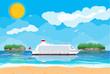 Tropical beach with cruise ship