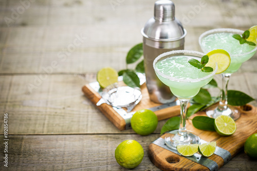 Margarita cocktail with lime and mint
