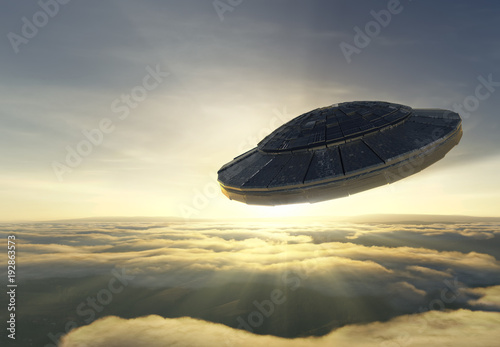 Foto op Canvas UFO Ufo over the clouds