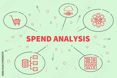 Cuadros en Lienzo Business illustration showing the concept of spend analysis