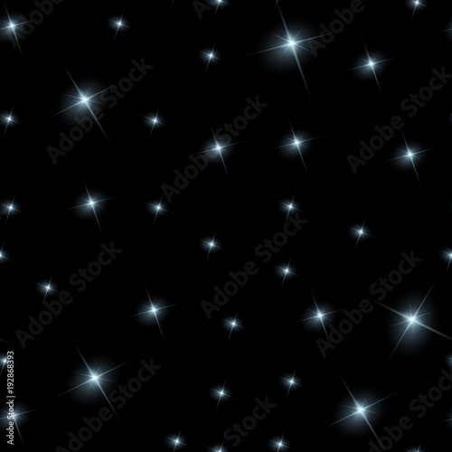 Fotografie, Tablou Realistic seamless vector image of the night sky with stars and galaxies