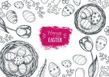 Happy Easter Vintage Frame. Ha...