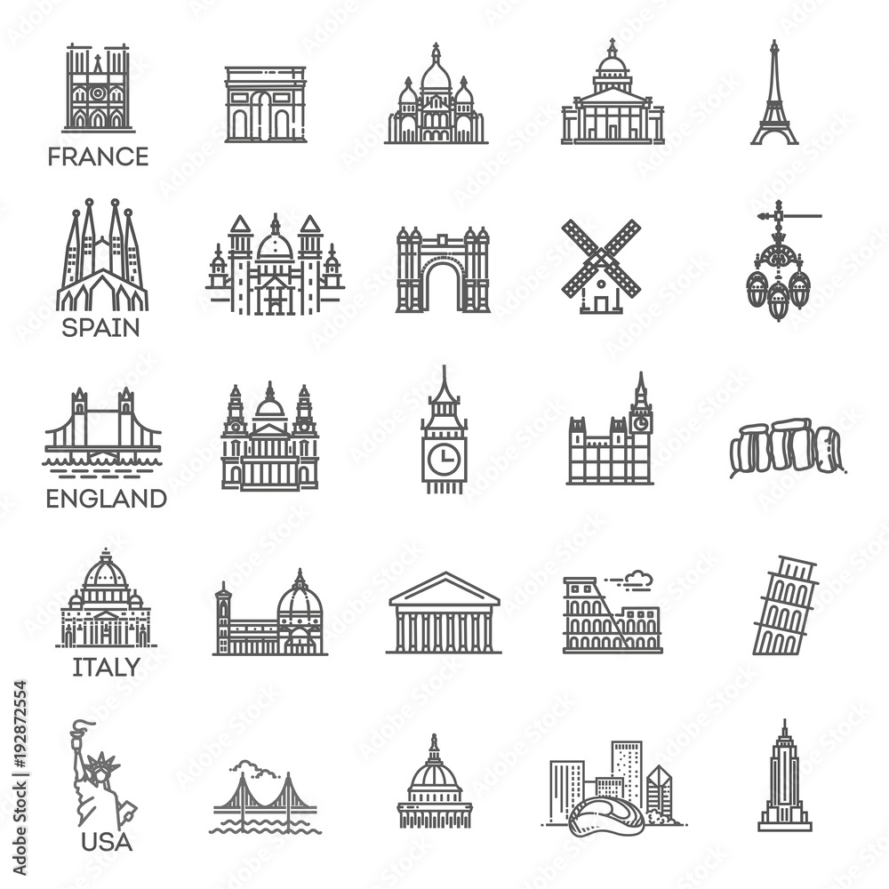 Fototapety, obrazy: Simple linear Vector icon set representing global tourist landmarks and travel destinations for vacations