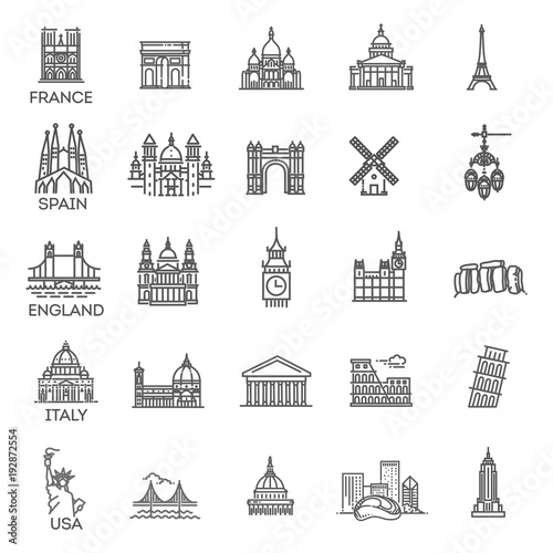 Photographie  Simple linear Vector icon set representing global tourist landmarks and travel d